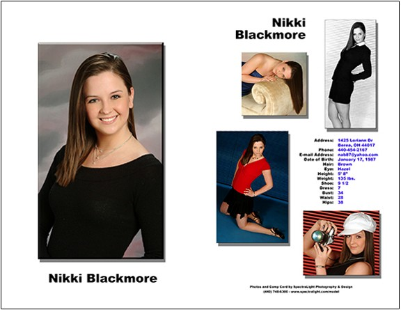 Model comp card - Cleveland model photographer - Olmsted Falls - North Ridgeville photography